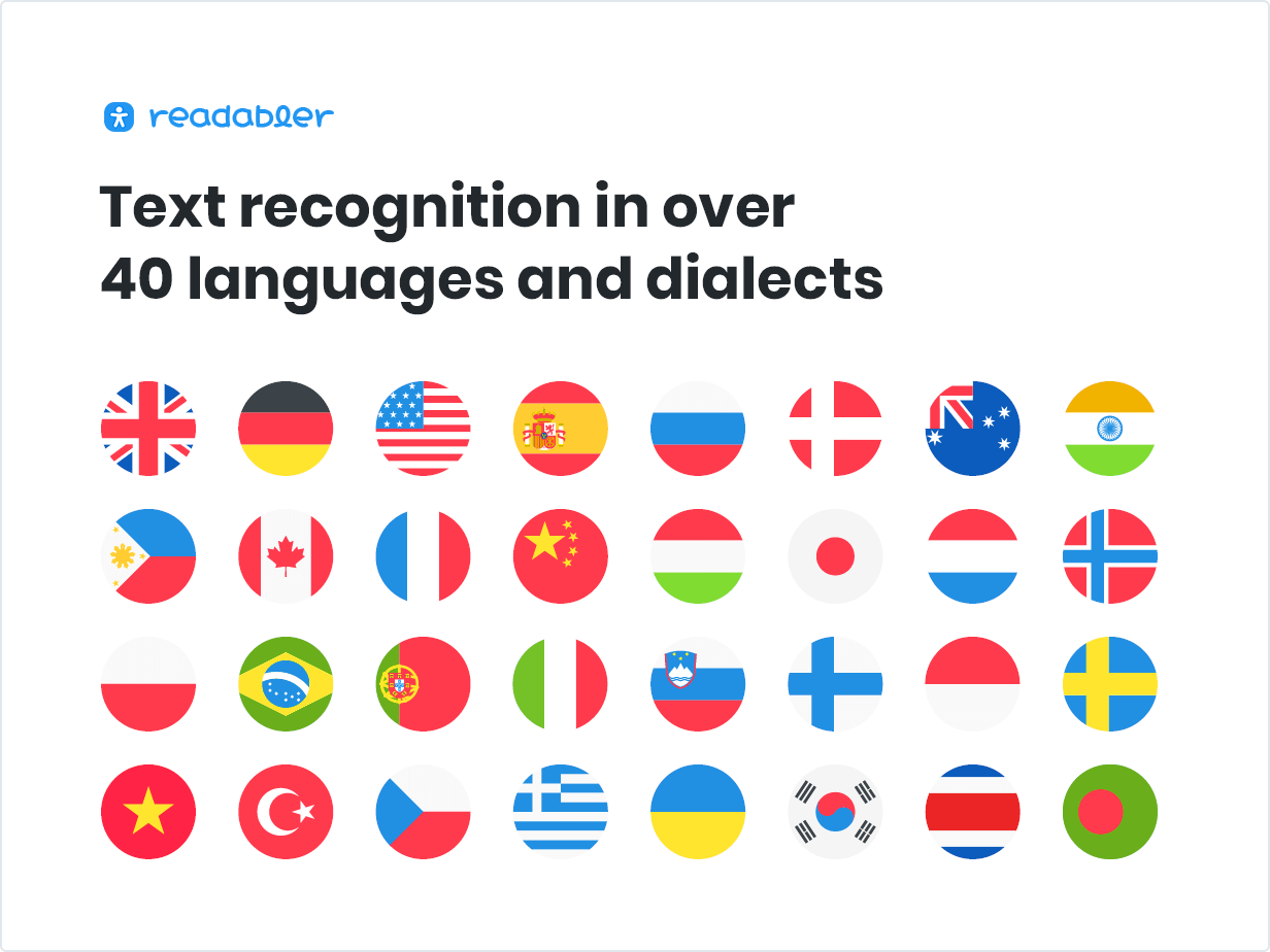 Text recognition in over 40 languages and dialects