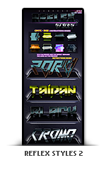 Reflex photoshop text effect styles reflective mirrored chromed