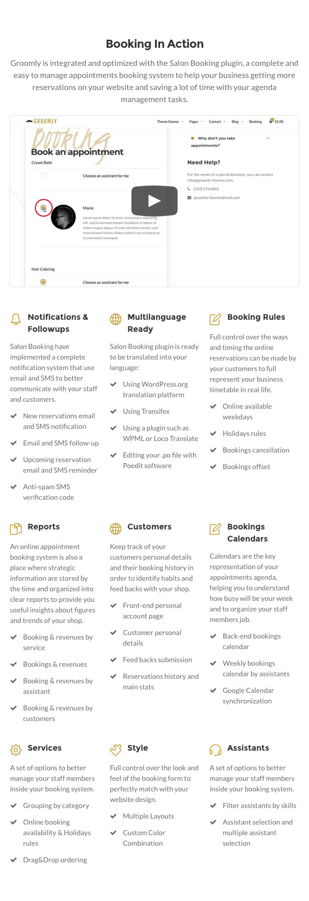 Groomly - Men's Grooming Scheduling & Reservation WordPress Theme - 2