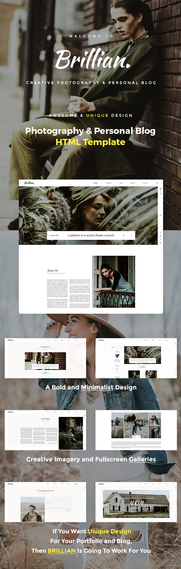 BRILLIAN - Photography, Personal, Blog HTML Template by murren20 ...