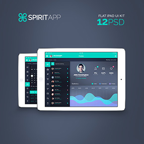 SpiritApp - Flat iPad App UI Kit