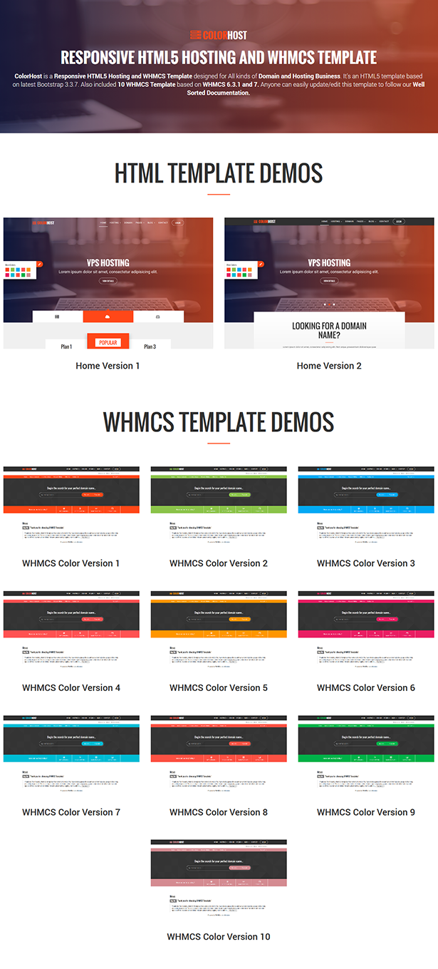 ColorHost | Responsive HTML5 Web Hosting and WHMCS Template by ...