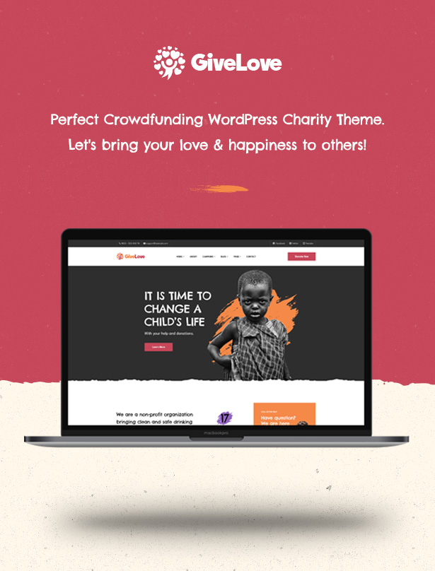 Givelove Non Profit Charity & Crowdfunding WordPress Theme