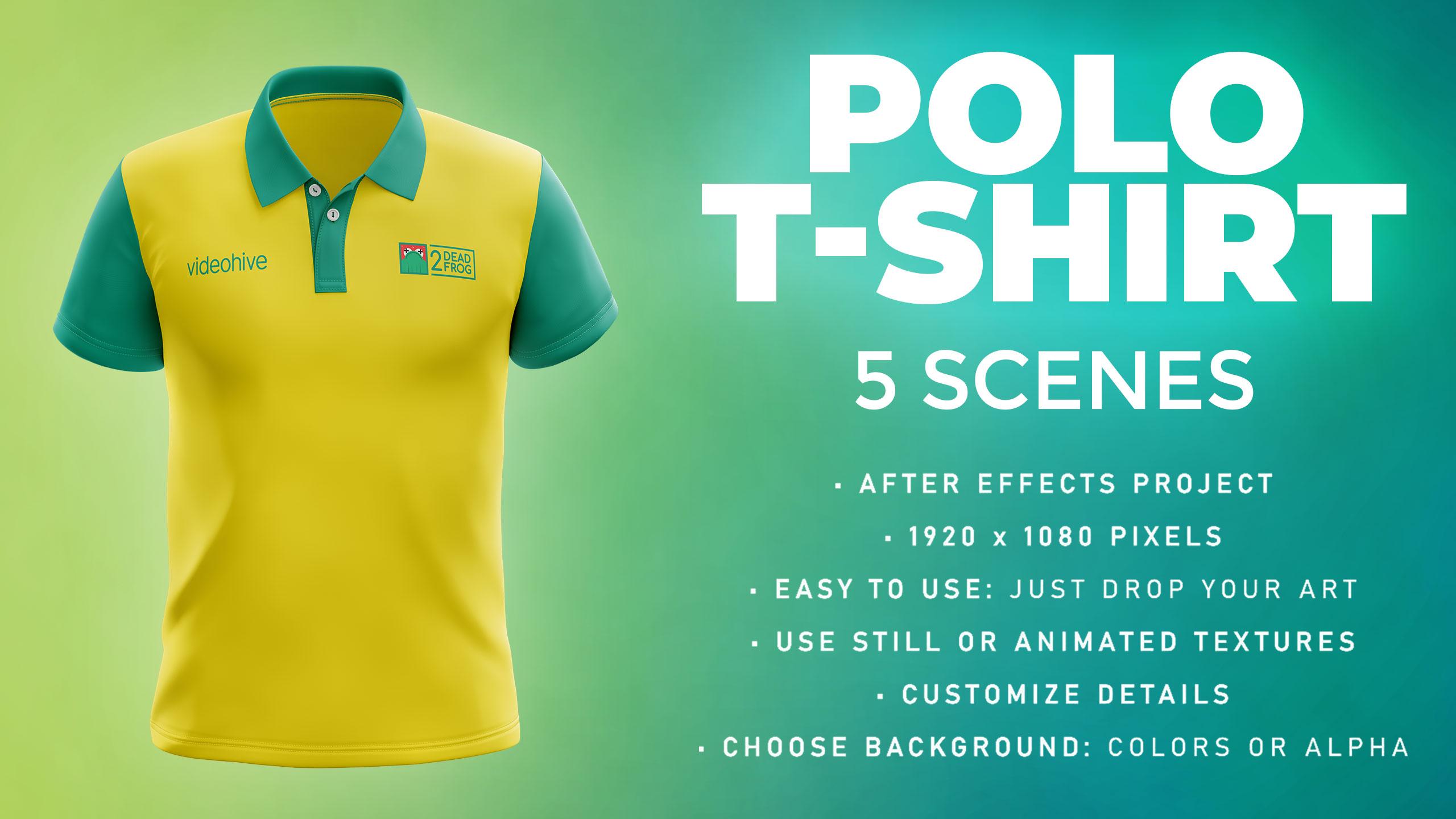 Polo T-shirt - 5 Scenes Mockup Template - Animated Mockup PRO - 1
