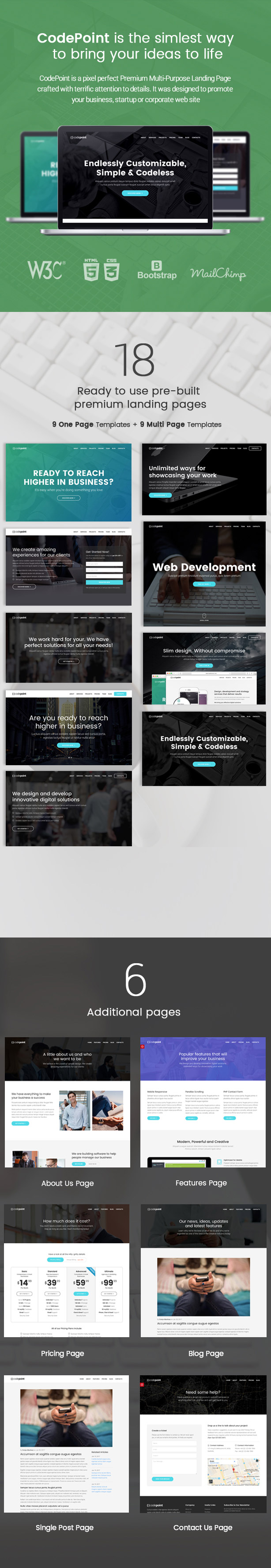 CodePoint - Multi-Purpose Landing Page WordPress Theme by Jthemes ...