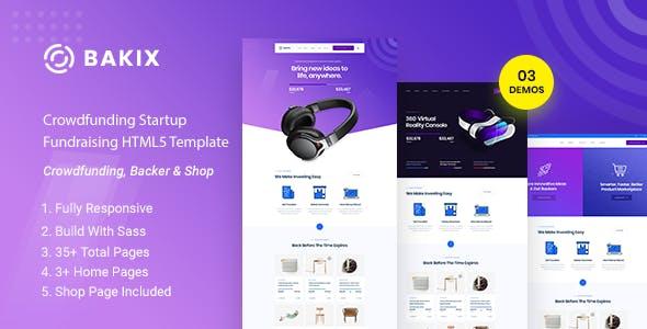Bakix - Crowdfunding Startup Fundraising HTML5 Template