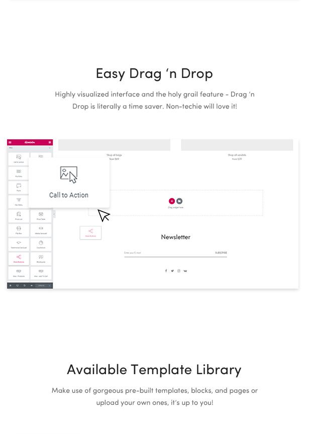 minimal fashion wordpress themes 2018 - drag & drop section