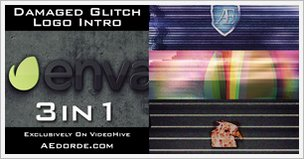 Damaged Glitch Logo Intro Pack 3 in 1