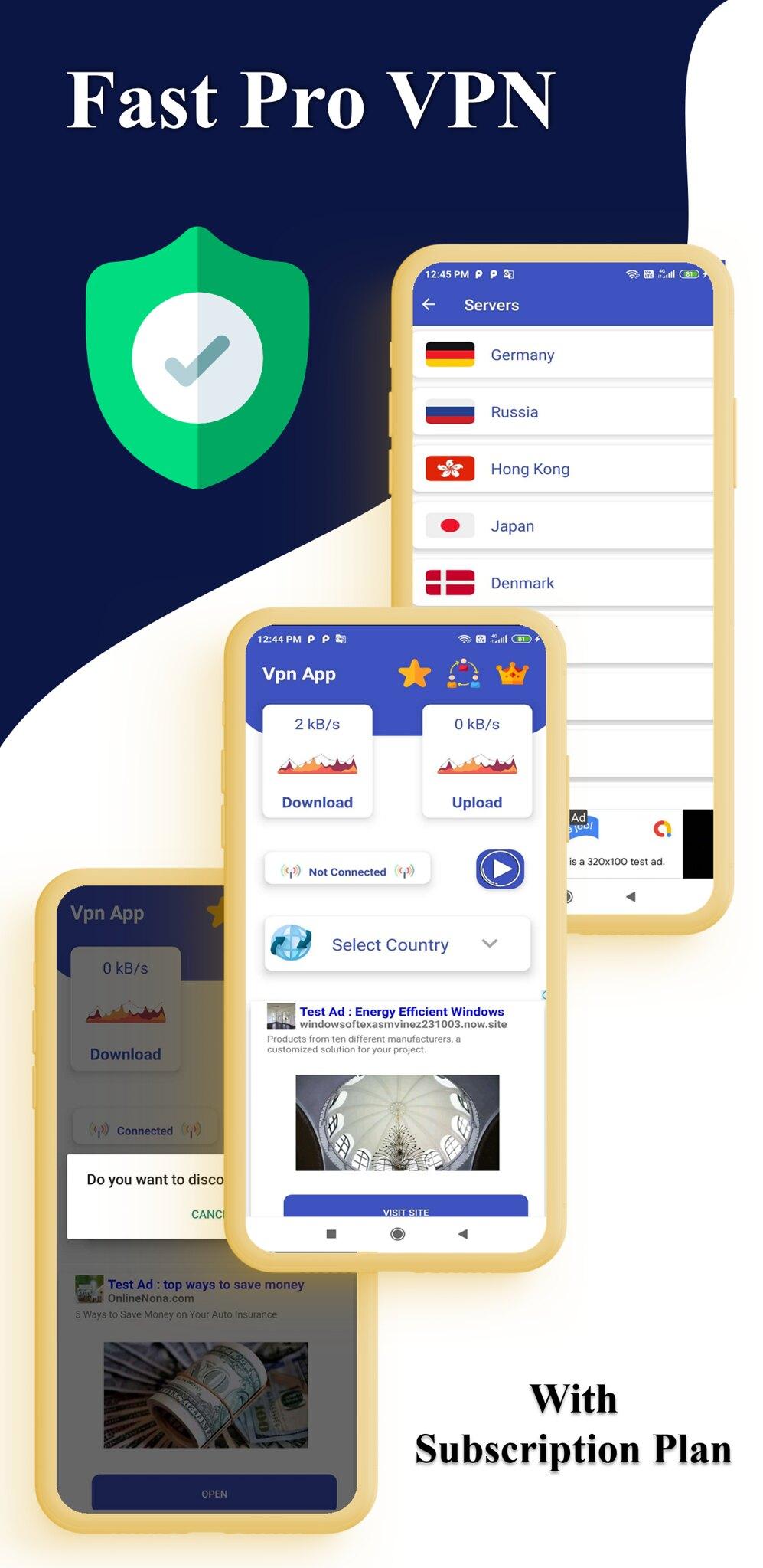 Fast Pro VPN App unblock Proxy | In App Purchase | High Secure VPN | Admob Ads - 5