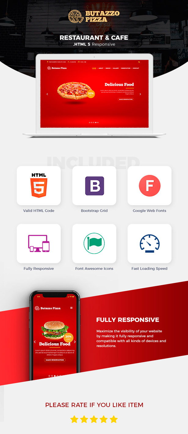 Butazzo Pizza - Restaurant & Pizza One Page HTML Template - 1