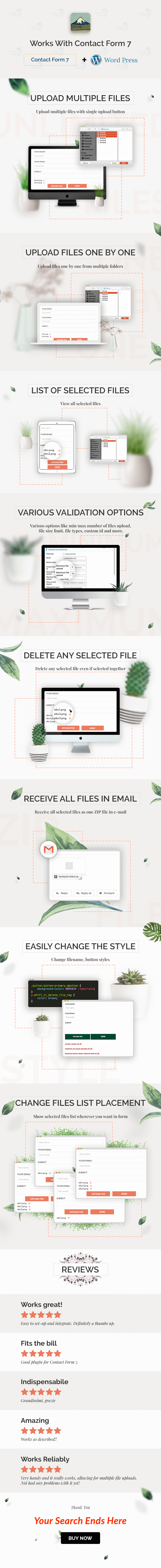 Multiline files upload plugin for contact form 7