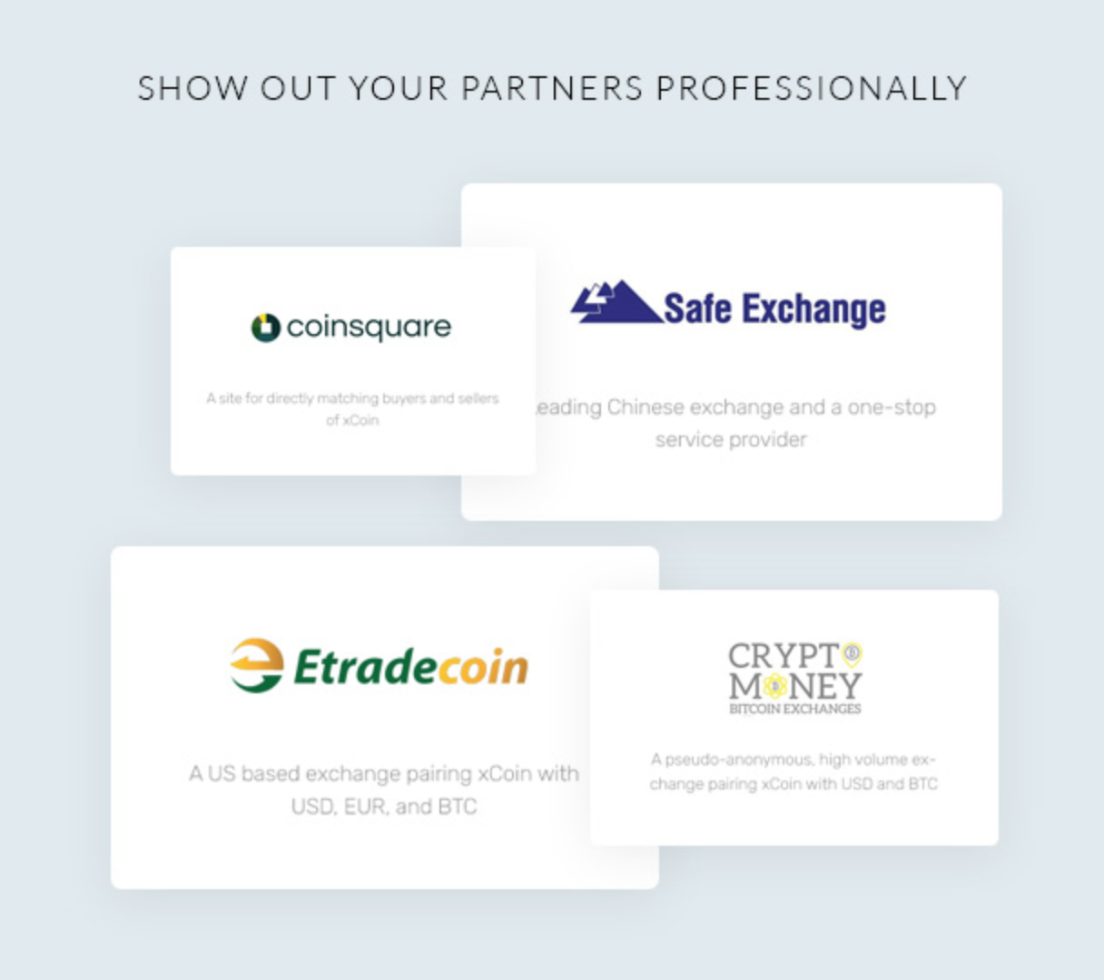 Xpexcoin partner coin trading connection showcase