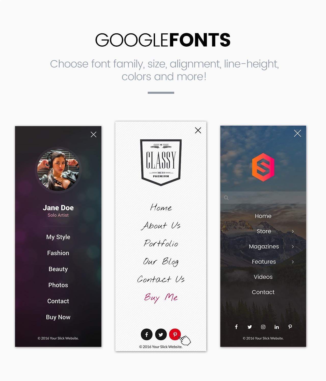 Slick Menu - Google Fonts