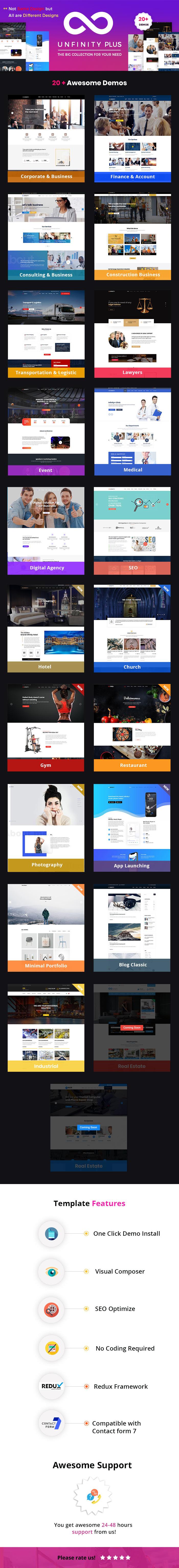 Unfinity Plus - One Page Multi-Purpose WordPress Theme