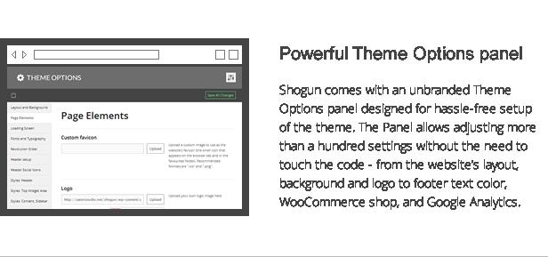 shogun features - powerful theme options panel