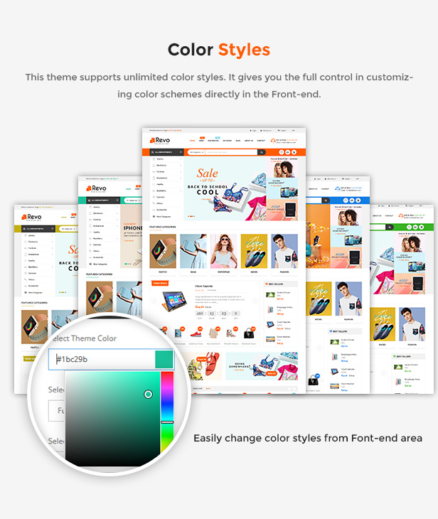 Responsive Prestashop Store Theme  color styles