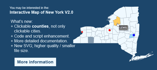 Interactive Map of New York  - Clickable Counties
