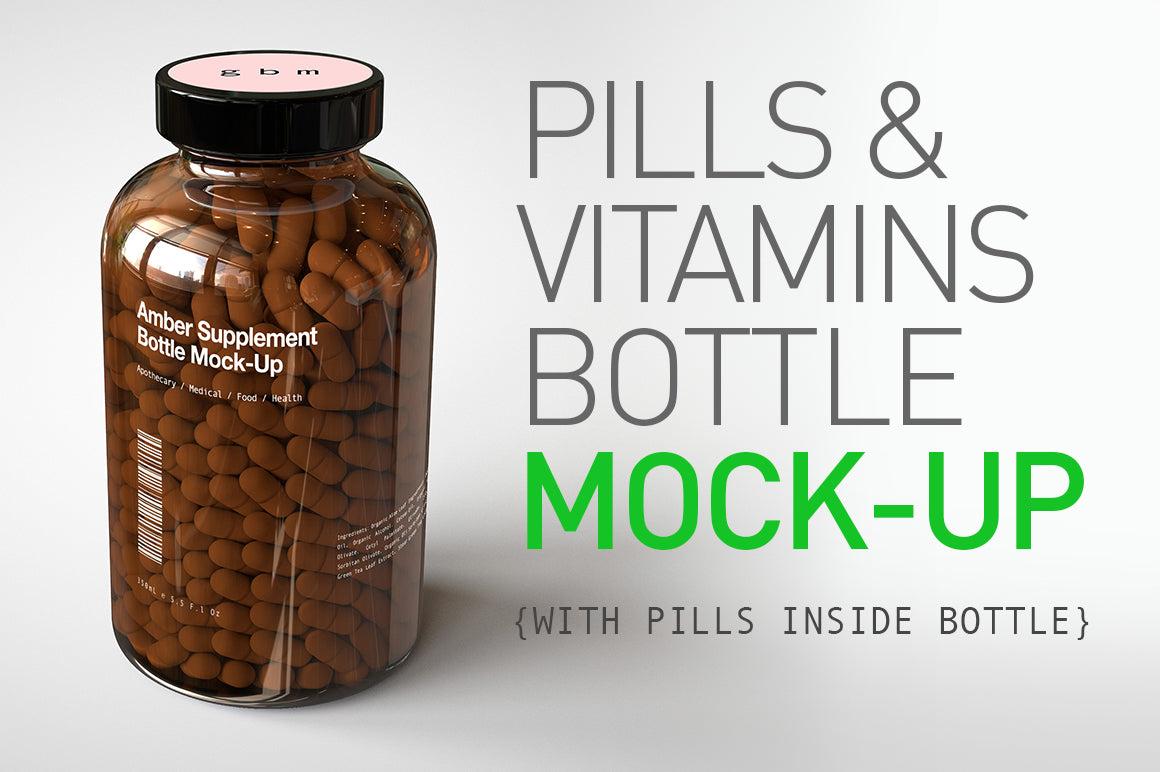 Amber Pill Bottle - Vitamins Mock-Up