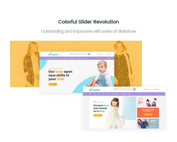Integrated slider revolution in BerryKid baby fashion shop