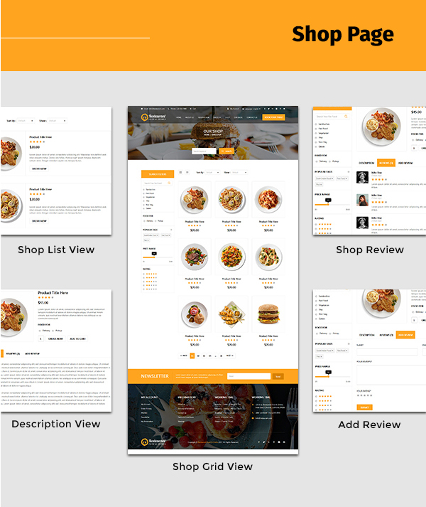 restaurant-food-and-drink-template Shop pages