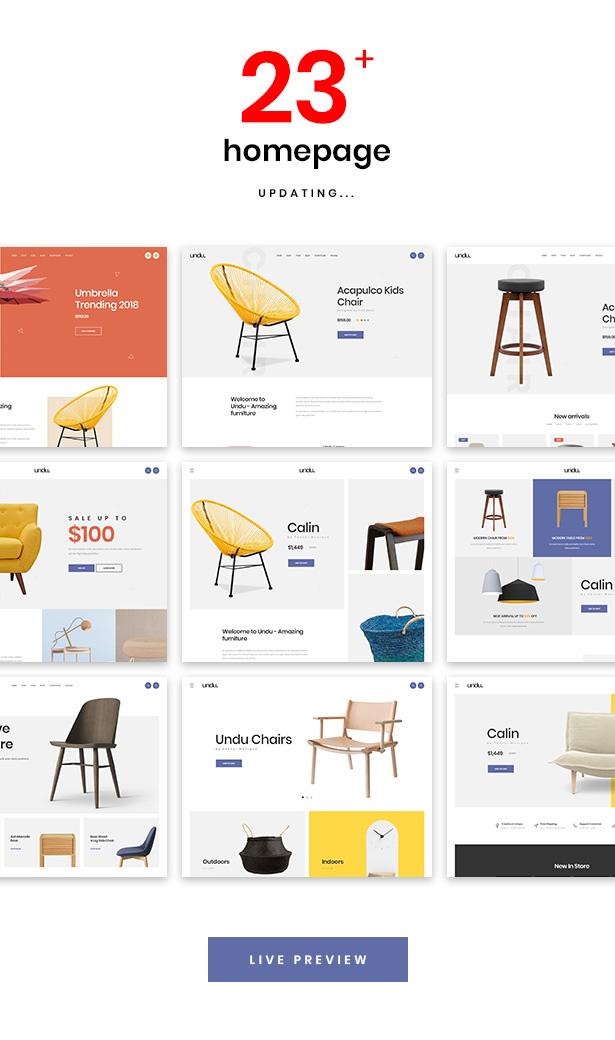 Multiple Stunning Homepage Demos Undu - Furniture & Fashion WooCommerce WordPress Theme