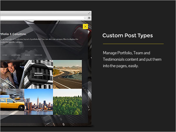 Custom Post Types - Manage Portfolio, Team and Testimonials content and put them into the pages, easily.