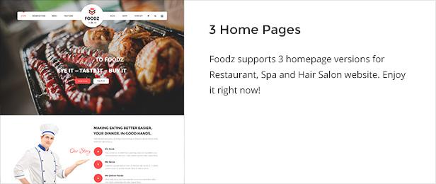 Foodz - Restaurant, Spa & Salon Joomla Template - 2