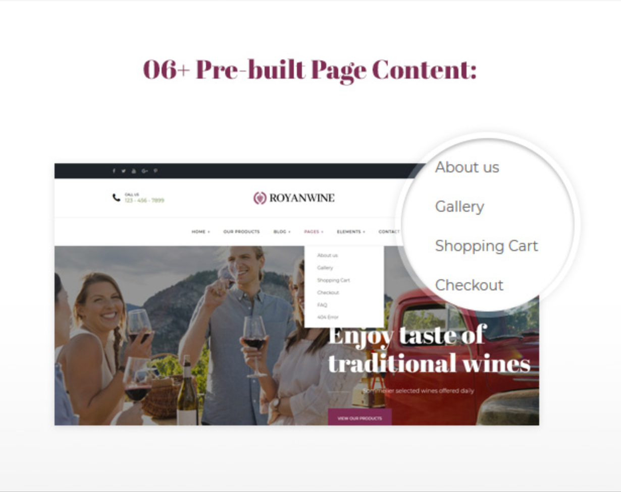 Royanwine Pre-built Page Content for Vinyard, Winery, Wine Makers, Dairy Farm
