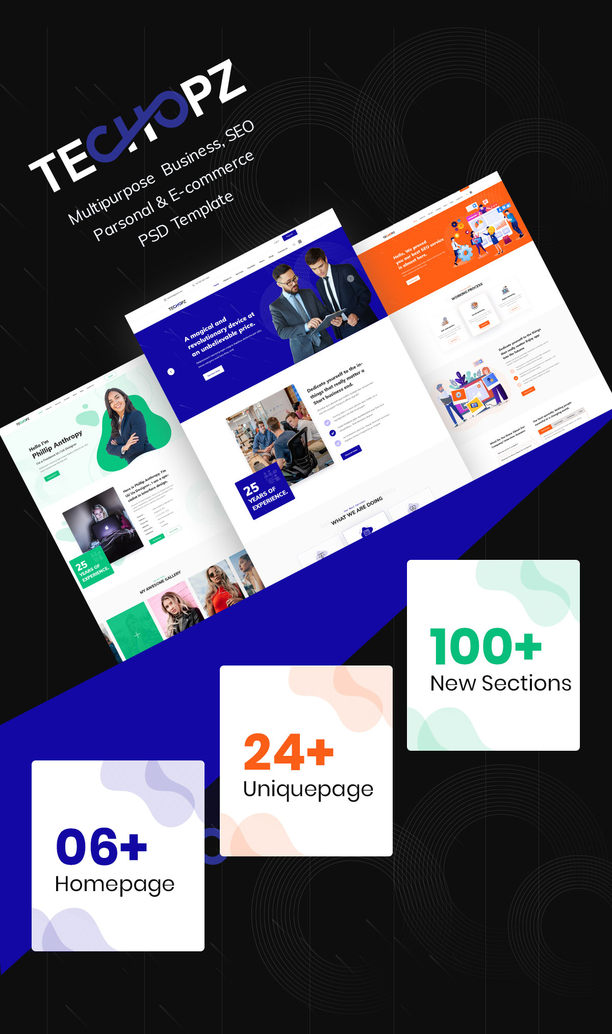 techopz Multipurpose coporate ecmmerce company personal & seo template