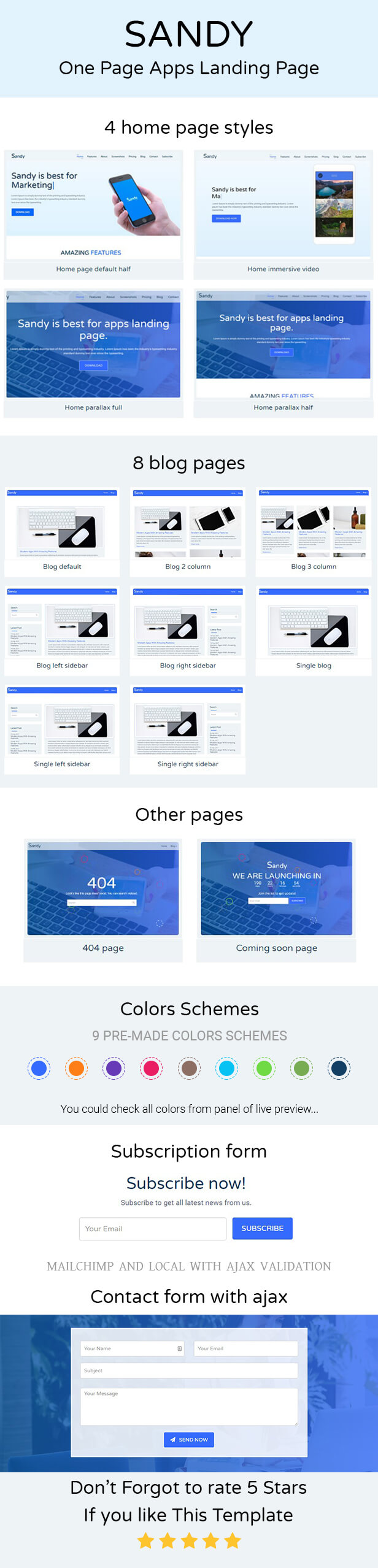 SANDY - One Page Apps Landing Page - 1