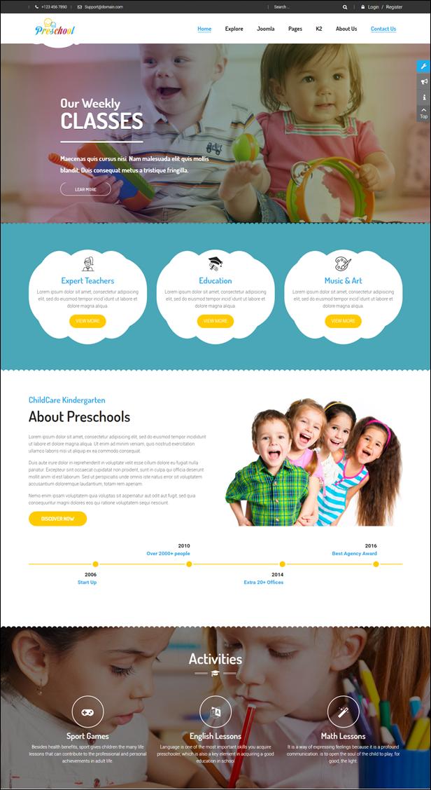 preschool children education joomla template for kindergarten