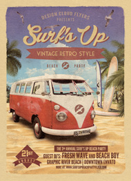 Design Cloud: Surfs Up Retro Beach Party Flyer Template