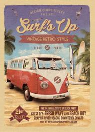 Design Cloud: Surf's Up Retro Beach Party Flyer Template