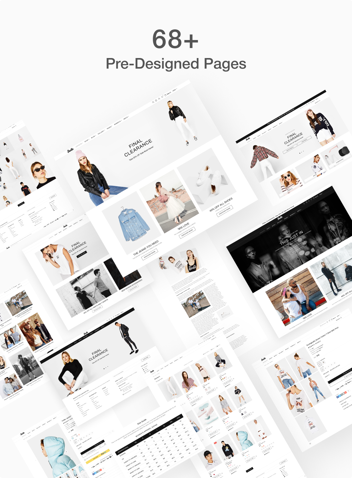 68+ pre designed pages for Shella Shopify theme