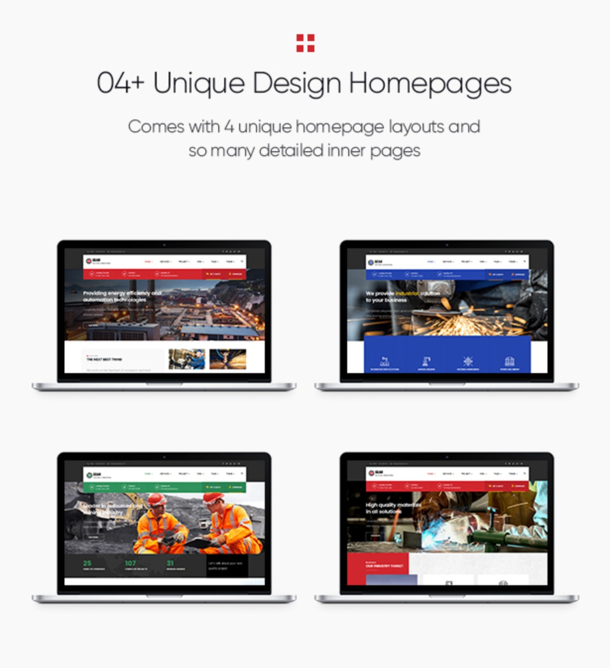 Gear - Factory and Industry Business WordPress Theme 04+ homepages