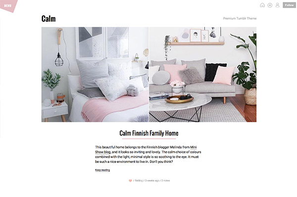Calm Premium Tumblr Theme - 1