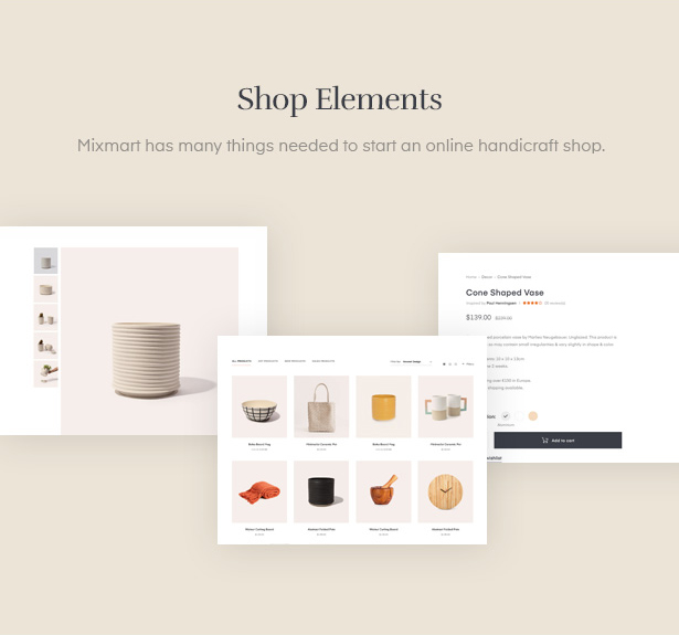 Provide you shop elements to create a perfect handmade WordPress site