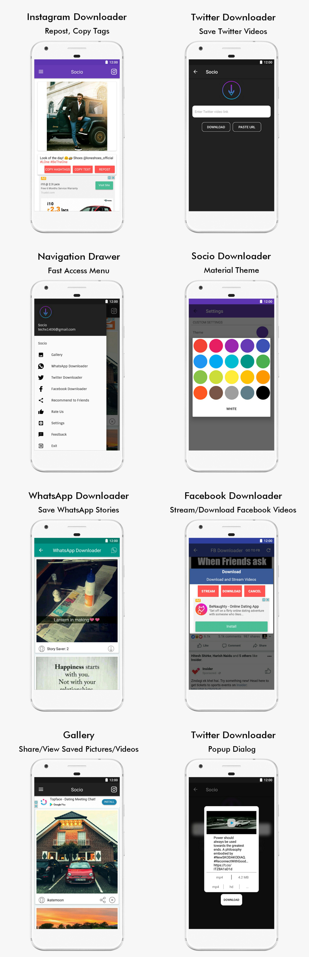 Socio - Instagram, Facebook, WhatsApp, Twitter Downloader