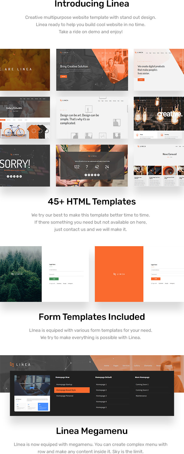 Linea is responsive HTML website template build with latest Bootstrap 3. Linea help you build beauty and modern website in no time. Linea has many of features to make your website stand out. Get Linea now!