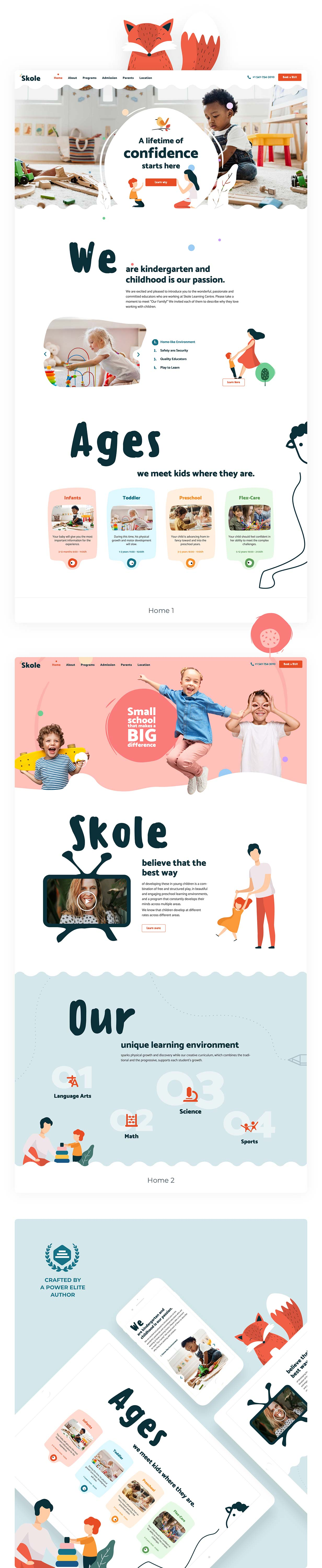Skole - Preschool Kindergarten WordPress Elementor Theme Template