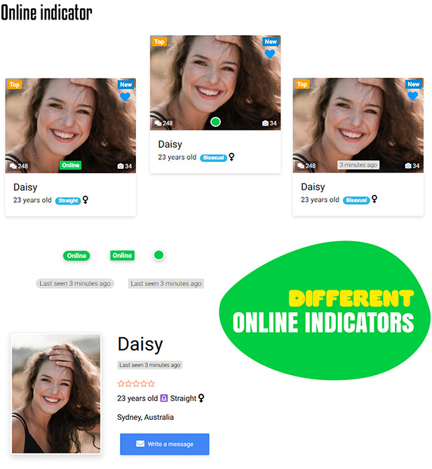 DateBook - Dating WordPress Theme. Online indicators.