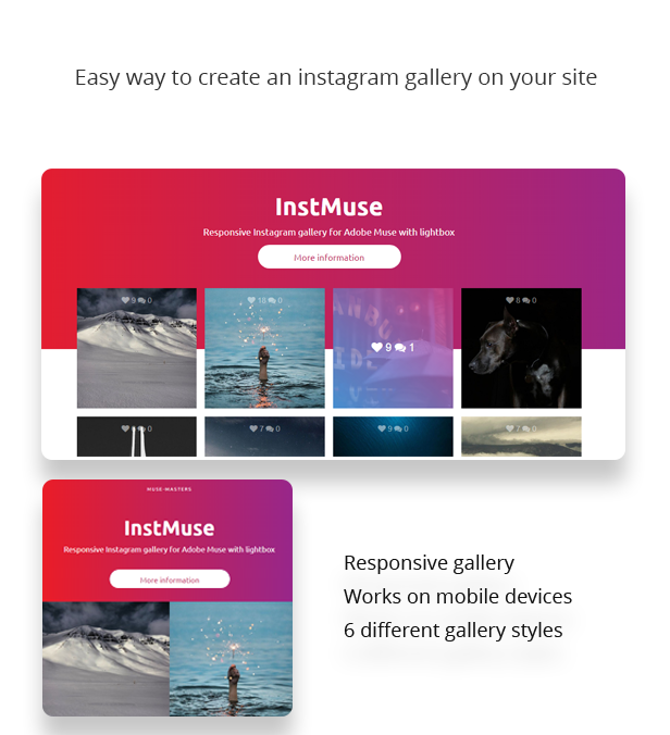 InstMuse - Responsive Instagram gallery with lightbox for Adobe Muse - plugins, muse-widgets, codecanyon