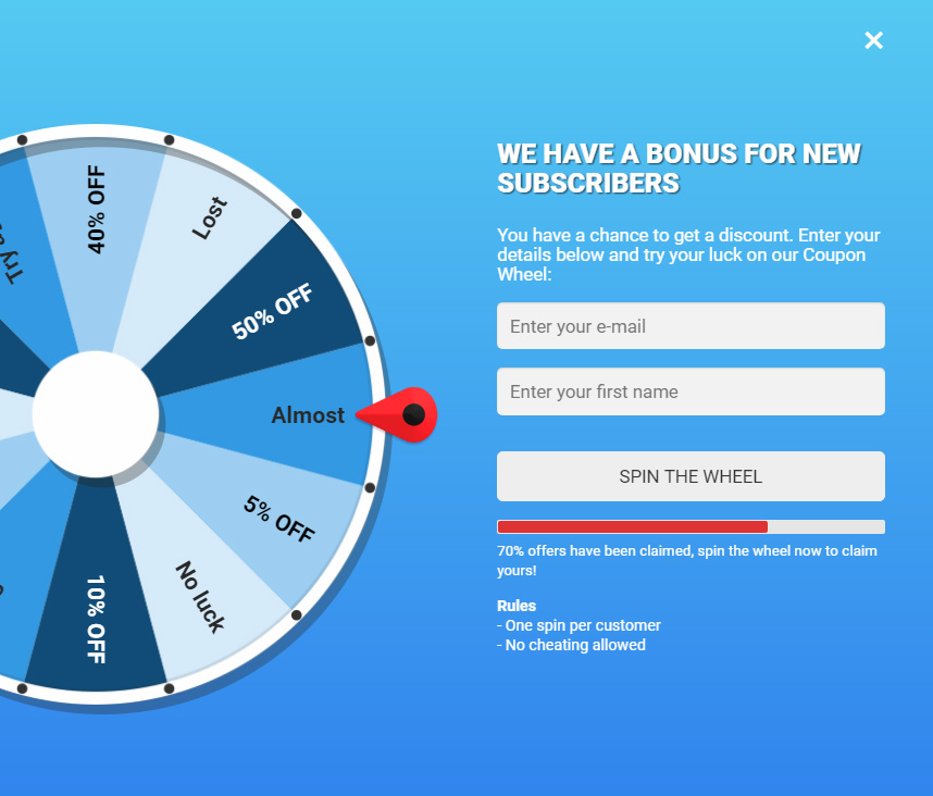 Coupon Wheel For WooCommerce and WordPress - 6