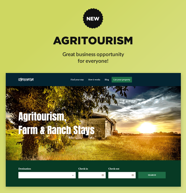 NEW: Agritourism, Farm and Ranch stays Marketplace