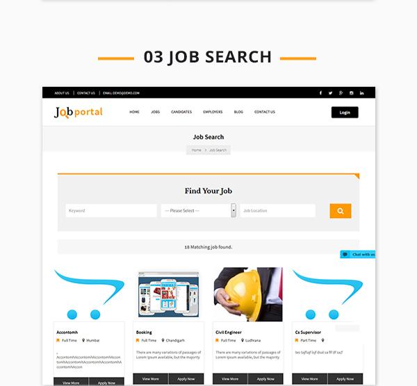 Job Portal Script search page