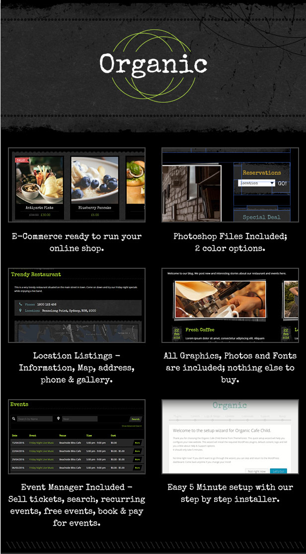 Organic Cafe Restaurant Grunge WordPress theme