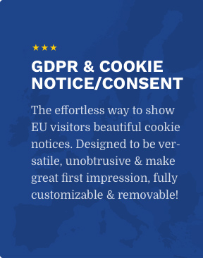 The effortless way to show EU visitors beautiful cookie notices. Designed to be versatile, unobtrusive & make great first impression, fully customizable & removable!