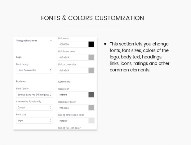unlimited colors and fonts