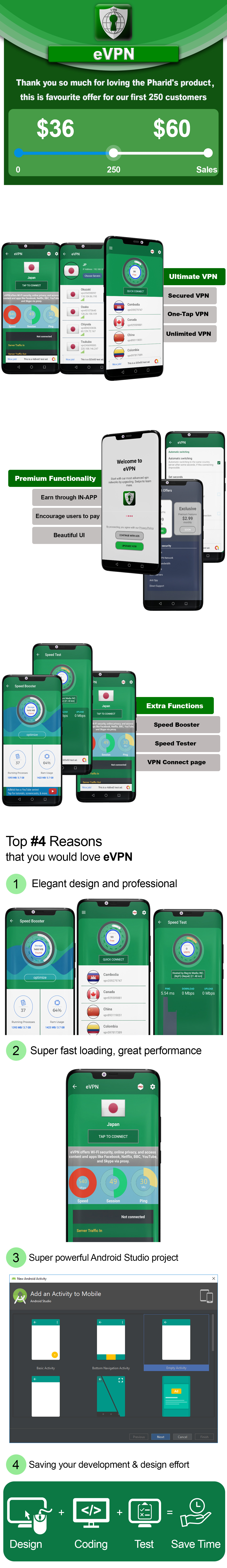 eVPN - Free Ultimate VPN | Android VPN, Billing, Phone Booster, Admob / Push Notification - 3