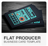 Flat Producer DJ Business Card PSD template
